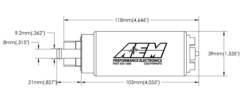 GENUINE AEM 50-1000 340LPH Intank EFI Fuel Pump w