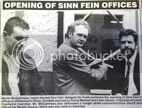 Kevin Meenan, Martin McGuinness, Liam Adams, Dundalk Argus 07/06/1996