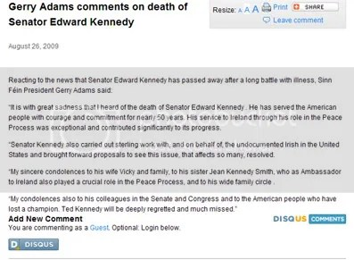 Gerry Adams statement on Ted Kennedy