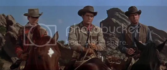 Sibling rivalry - Dean Stockwell, Jeffrey Hunter and Fred MacMurray in Gun for a Coward.