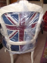 FRENCH LOUIS SHABBY CREAM UNION JACK CHIC CHAIR WOW!