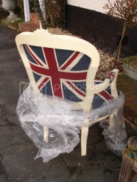 FRENCH LOUIS SHABBY CREAM UNION JACK CHIC CHAIR WOW! | eBay
