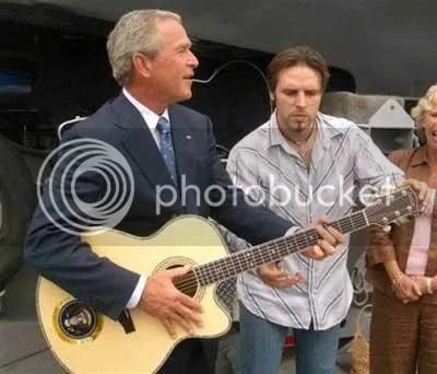 bush katrina air guitar