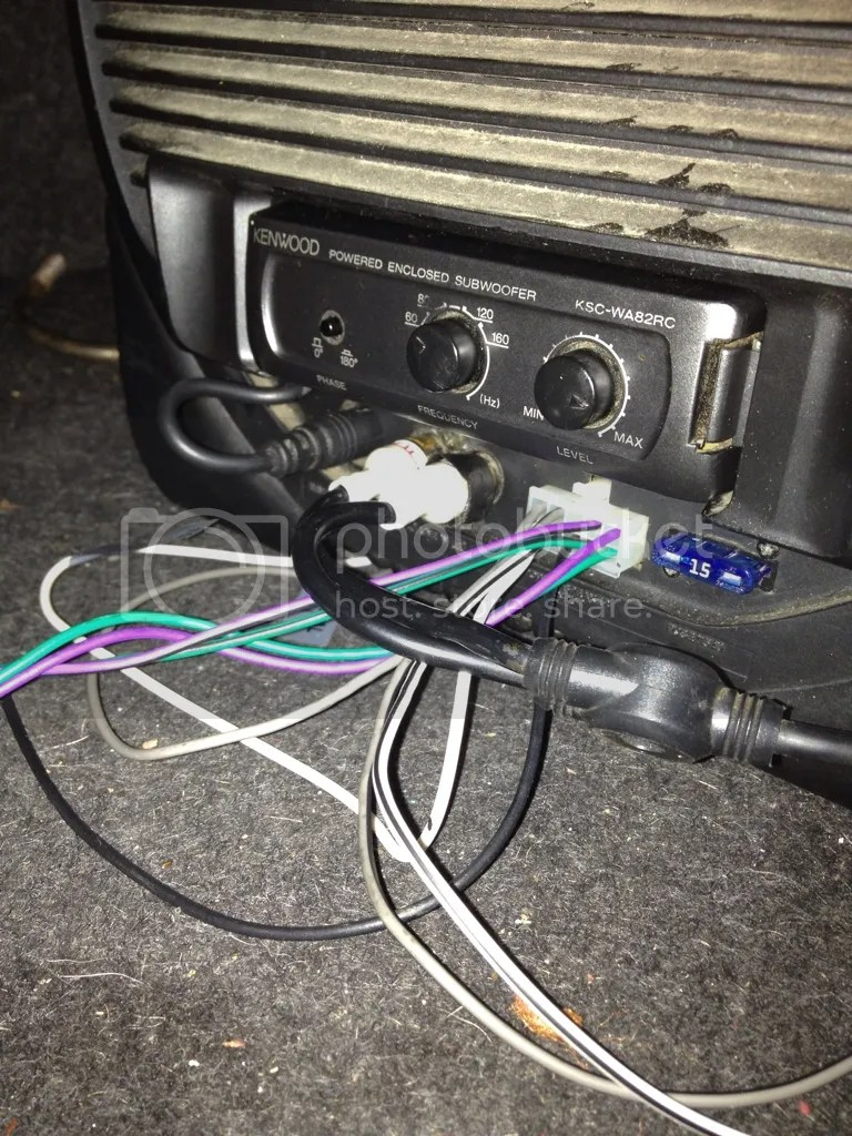 hight resolution of we were gonna check if the aux cables were even hooked up but ran out of time the model is kenwood ksc wa82rc if that helps and here is the way it sits