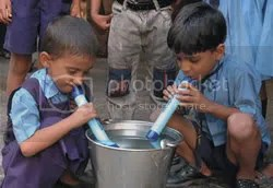 Children using the Lifestraw