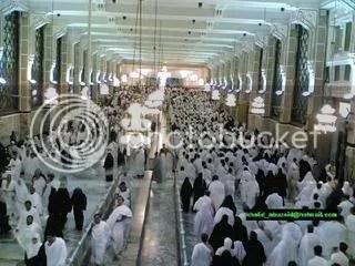 Pilgrims making the Saai - walking or running as Hajjar did from Safa to Marwa 7 times