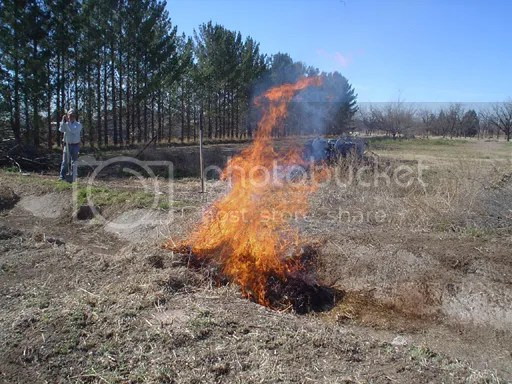 Burning piles in the irrigation ditch
