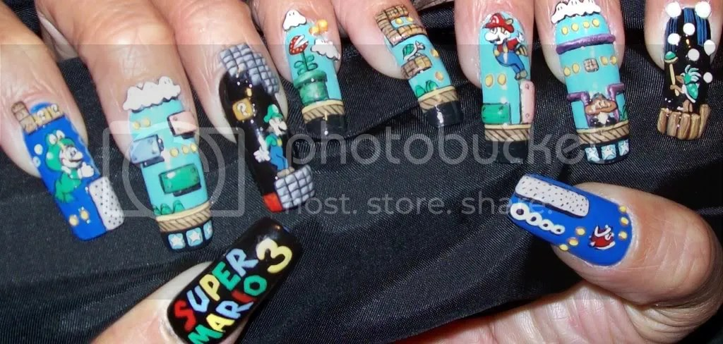 Handpainted Mario Nails