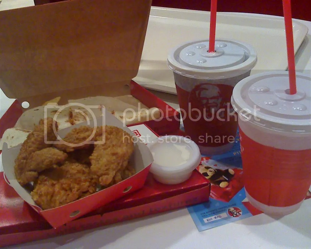 KFC Cheesy Meltz with Spicy Chicken Wings and sodas