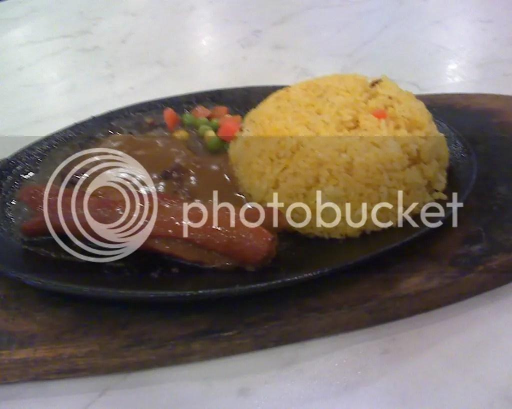 Frankfurter and Salisbury Steak Sizzling Plate