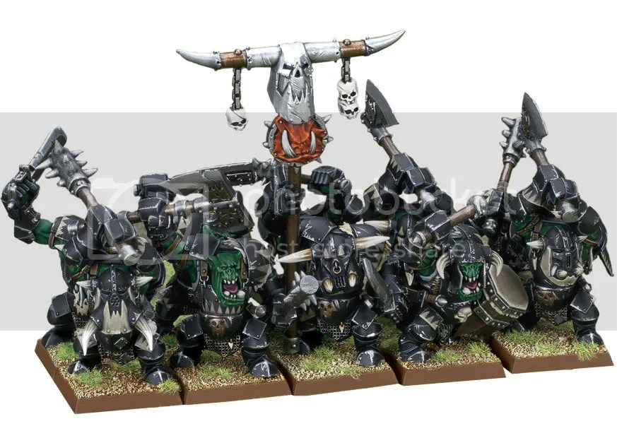 Games Workshop Black Orcs. Now known as Orruk Ironjaw 'Arboyz. Because of course they are.