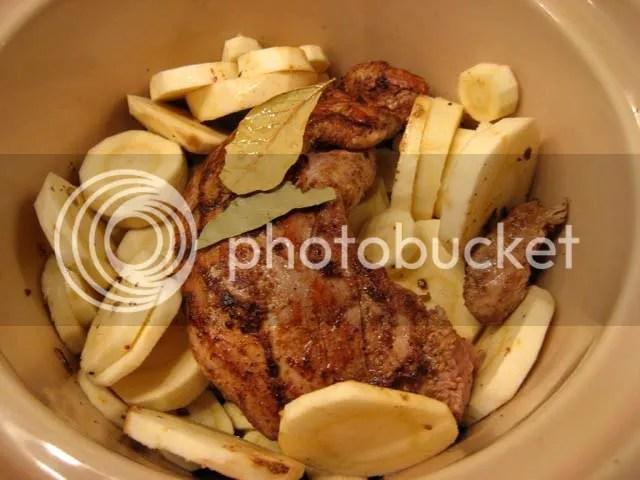 Crock pot cinnamon pork loin with parsnips