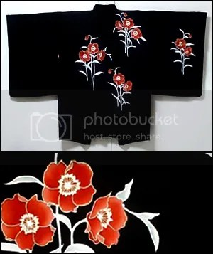 poppies design haori