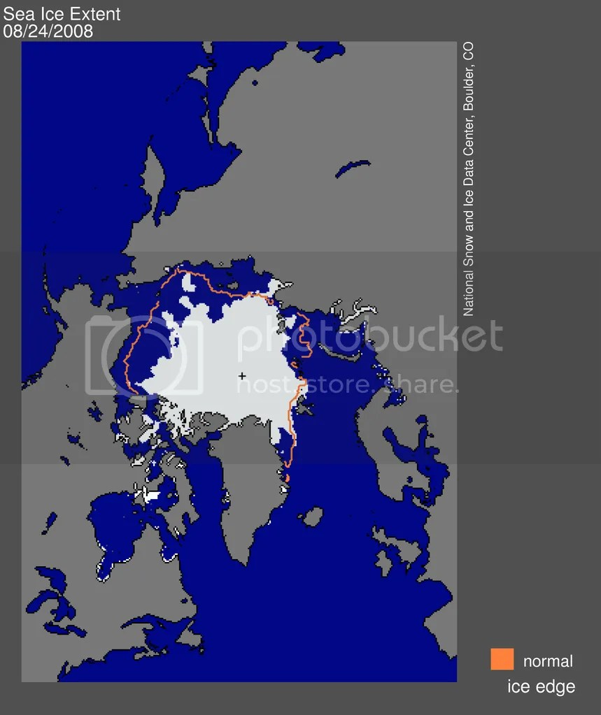 Arctic Sea extent Ice August 24, 2008