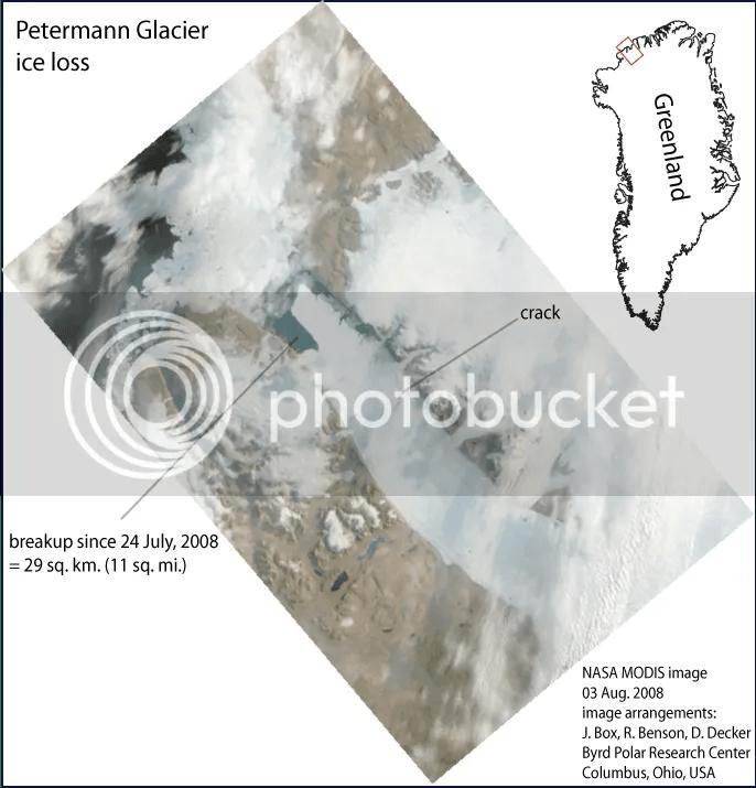 Petermann Glacier crack August 2008