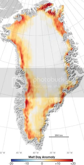 Greenland melt days 2005