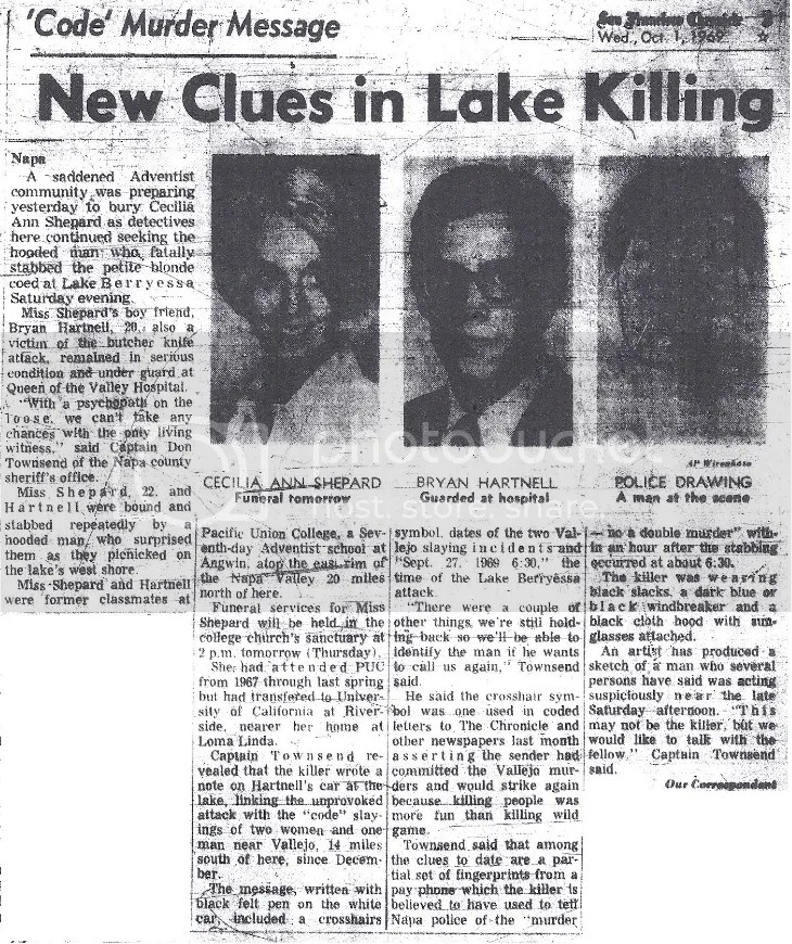 Berryessa Message Zodiac Lake Killer
