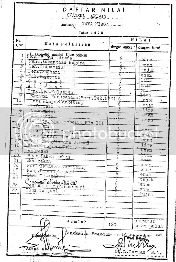 Daftar nilai Ijazah SMEA Gubsu Syamsul Arifin. Nomor induk siswa dan nilai yang tertera di ijazah sama dengan yang tertera di Surat Keterangan Pengganti Ijazah yang dipergunakannya sebagai syarat menjadi Bupati langkat 2 periode