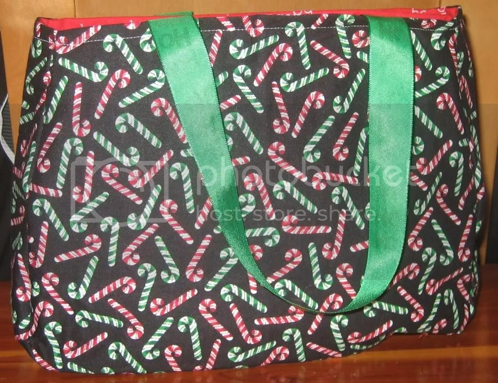 Candy Cane/Ho Ho Ho purse with Green Ho Ho Ho Ribbon Handles