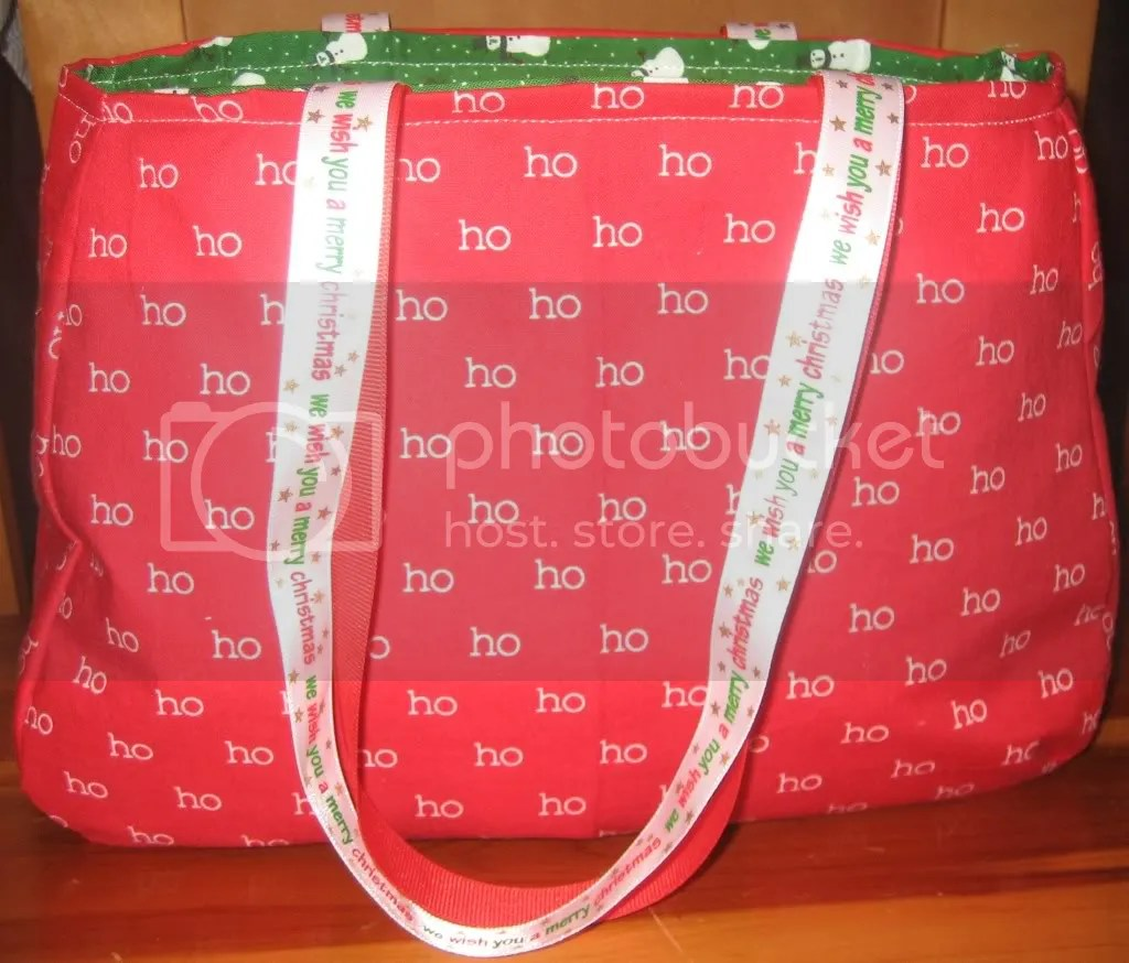 Ho Ho Ho/Snowman Purse with Double Ribbon Handles-Red Ribbon and White Ribbon with We wish you a Merry Christmas