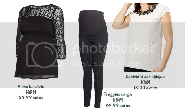 look de noche premama, pantalon negro premama H&M, blusa encaje premama H&M, camiseta premama escote pedreria H&M