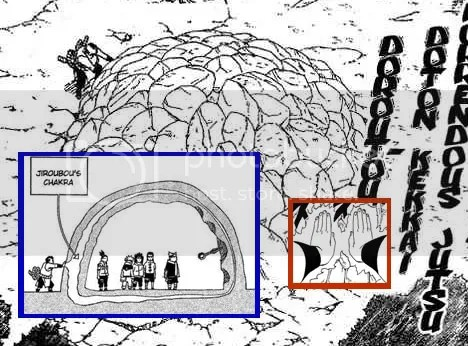 Jiroubou from the Sound 5 uses the clay prison as a chakra absorber