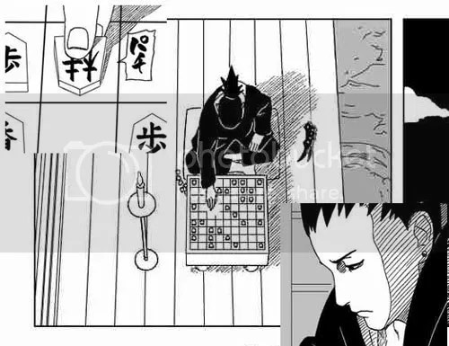 Shikamaru ponders over a game of Shogi