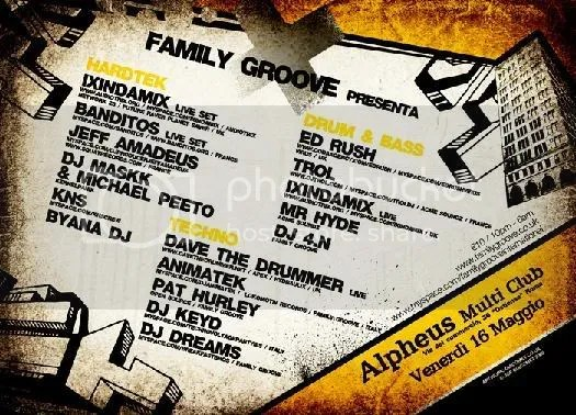 flyer retro tekno surf dance with groove family
