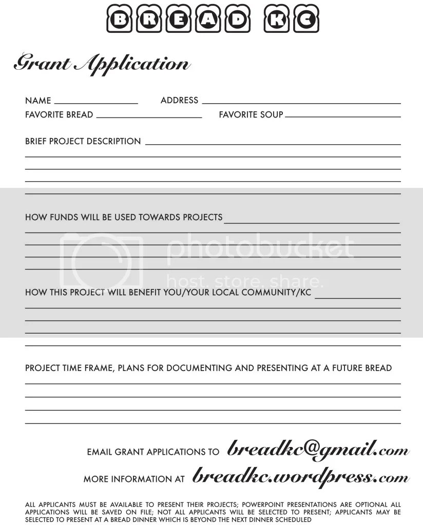 Bread Grant Application