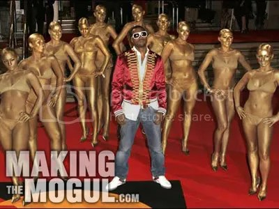 Kanye West with gold models