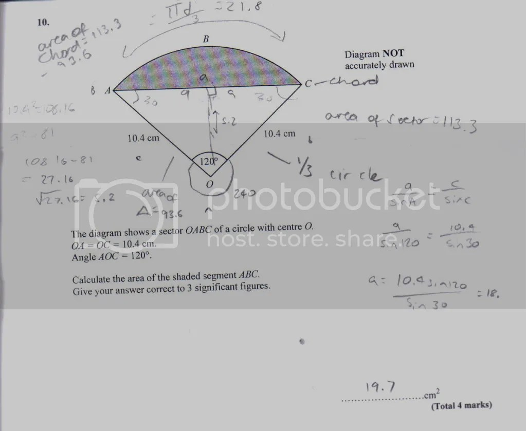 Finding the area of a segment of a circle, 10th grade