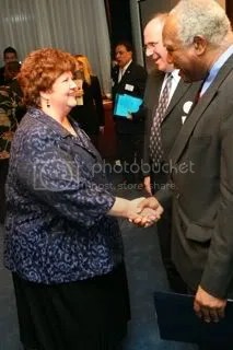 Marge Berglind greets U.S. Rep. Danny Davis (D-Chicago) at reception in Washington, D.C.