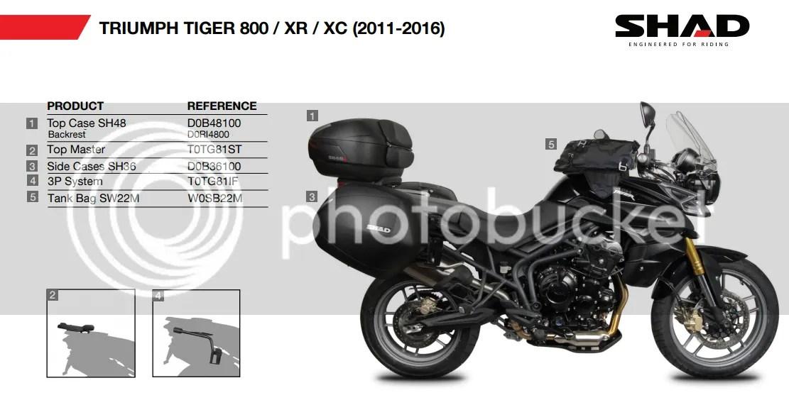 Accessoires SHAD TRIUMPH Tiger 800 800XC 2011 2016 moto