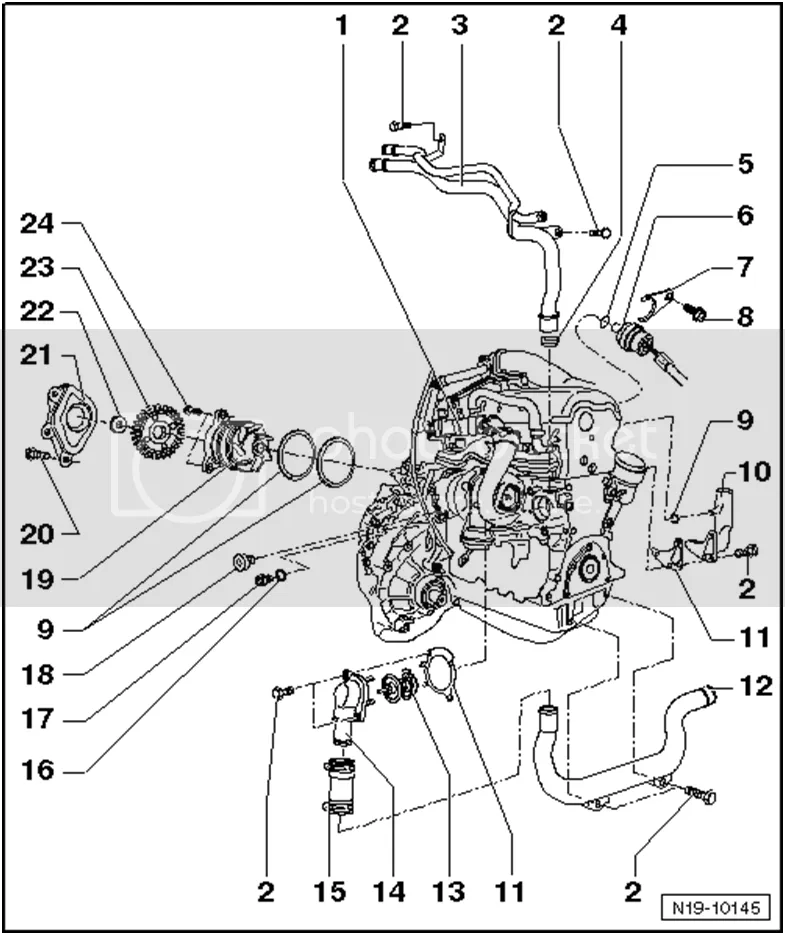 Changing a water pump in vw 4motion transporter year 2005