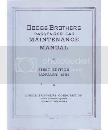 1934 Dodge Truck Shop Manual Cover