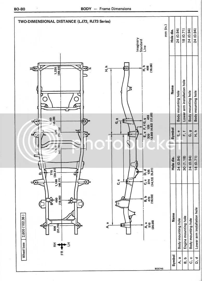BO-80 BODY Frame Dimensions 2D LJ73 RJ73 Photo by