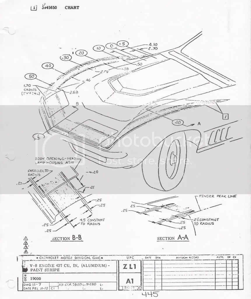 1969 Corvette ZL-1 Paint Spec Dimensions for Hood