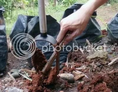 Angkat setelah penuh tanah, mata bor dibersihkan. Biasanya dua kali putar mata bor sudah penuh dengan tanah.