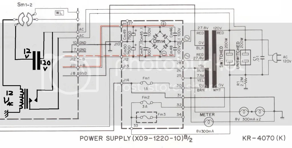 Kenwood KR-4070 Power Switch Mod, am I on the right track