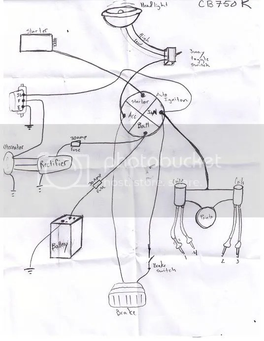 minimal wiring for 77 cb750k, help needed