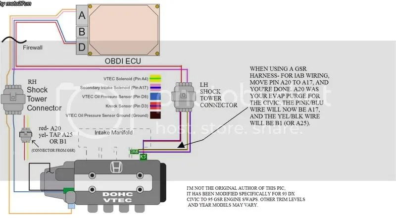 vtec wiring diagram obd2 1998 honda crv gsr great installation of simple rh 9 mara cujas de obd 2 plug