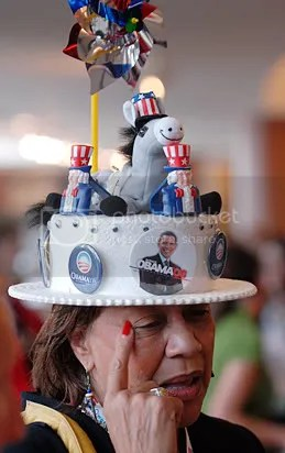Word on the street is that Michelle Obama was going to wear this hat during her speech last night, but decided against it.