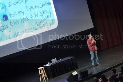 Frank Warren speaks at a PostSecret event.