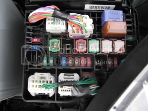 small resolution of the fuses i am talking about are the right hand brown 7 5a fuse on the bottom row and the missing large fuse on the same row 3 fuses to the right