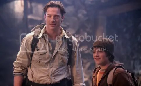 Brendan Fraser and Josh Hutcherson in Journey to the center of the Earth 3D.
