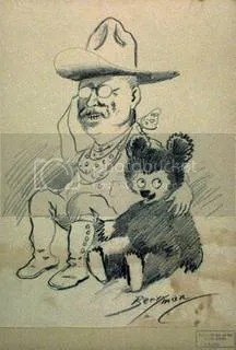 teddy and bear, via http://www.americaslibrary.gov/aa/roosevelt/aa_roosevelt_bears_1_e.html
