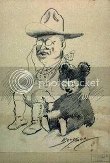 teddy and bear, via http://www.americaslibrary.gov/aa/roosevelt/aa_roosevelt_bears_1_e.html