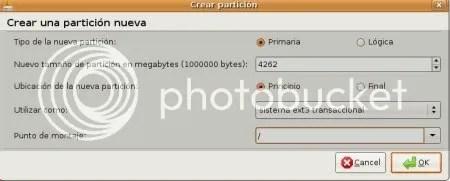 Particion de Instalacion de Ubuntu