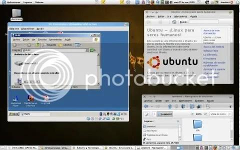 Si eres buen observador, te daras cuenta que el cuadro del lado izquierdo es una ventana que contiene el Sistema Windows XP. El primer cuadro de la derecha nos indica que estamos en Ubuntu y el segundo una ventana del Nautilus.