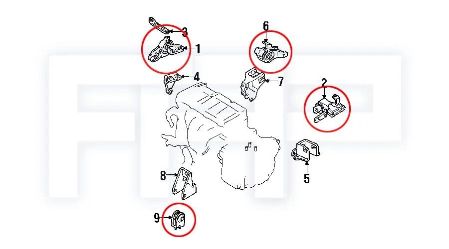 ROCA Transmission Tranny +Engine Motor Mount for 99-01